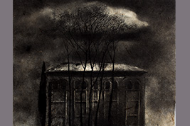 Monotype - Grands arbres devant des nuages - Gerard Jan