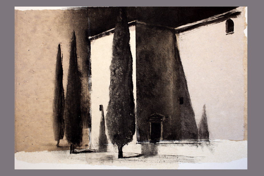 Monotype - Immeubles et arbres, Narbonne - Gerard Jan