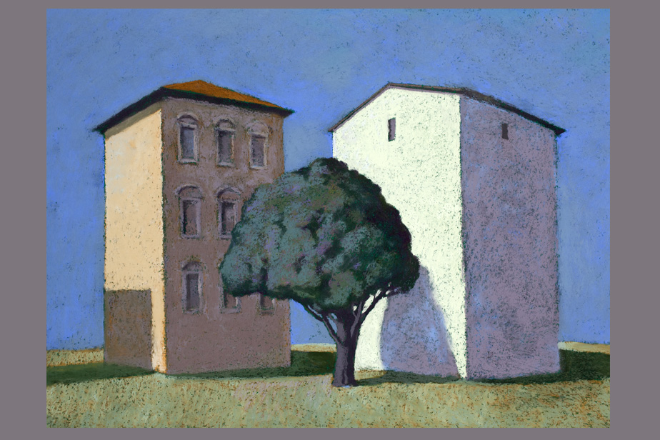Monotype - Grand immeuble et grand arbre, Rome - Gerard Jan